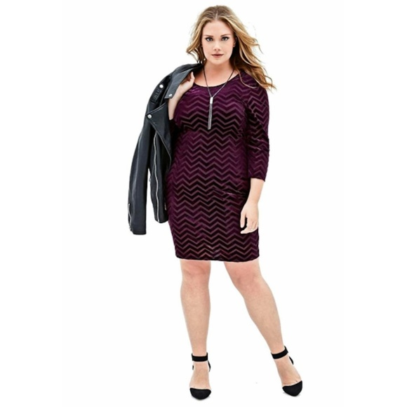 NWT Purple Velvet Chevron Plus Size Mini Dress 2X NWT